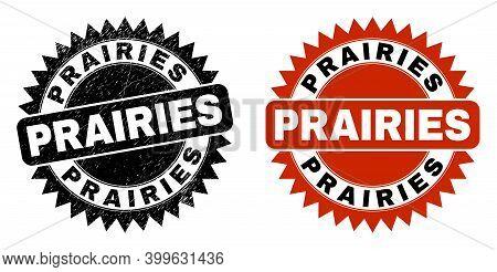 Black Rosette Prairies Seal Stamp. Flat Vector Distress Seal Stamp With Prairies Message Inside Shar