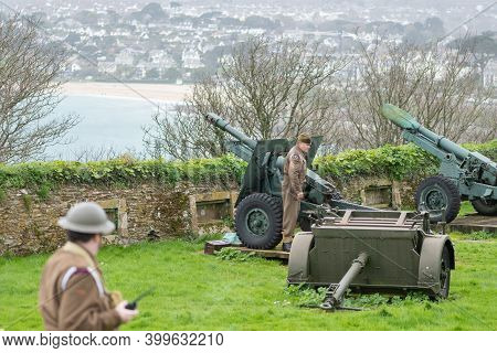 Falmouth.cornwall.united Kingdom.february 21st 2020.the 25 Pounder Cannon Is Being Fired At Pendenni