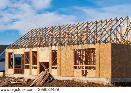 Wall And Rafters Of A Plywood House Roof Plank