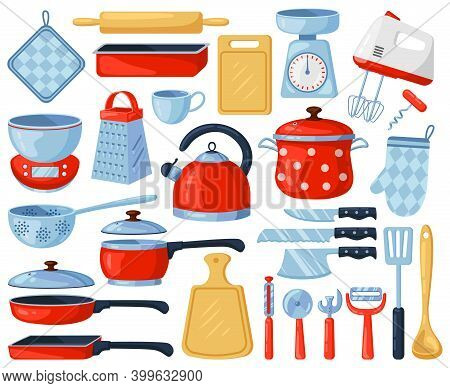 Kitchen Dinnerware. Kitchenware And Tableware Dishes, Tools, Cutlery, Grater, Mixer And Cutting Boar