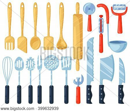 Kitchen Utensils. Kitchenware Cutlery Tools, Knives, Forks, Spatula And Spoons. Cooking Tableware Eq