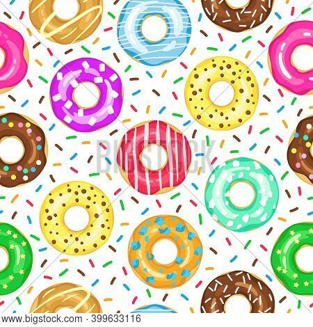 Cartoon Donuts Pattern. Seamless Glazed And Sprinkled Donuts Backdrop, Pink, Yellow Glazed Chocolate