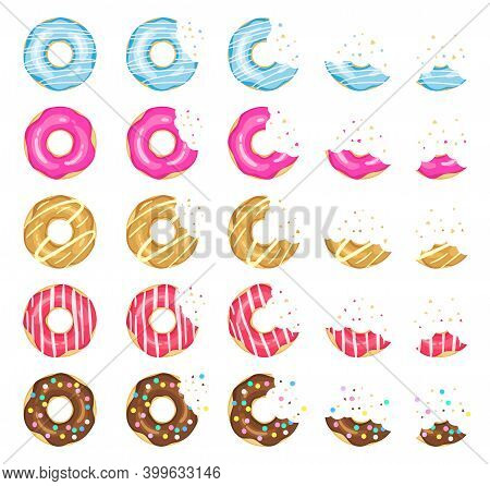 Donuts Eating Stages. Pink, Yellow And Blue Glazed Chocolate Donuts, Tasty Donut Animation Progressi