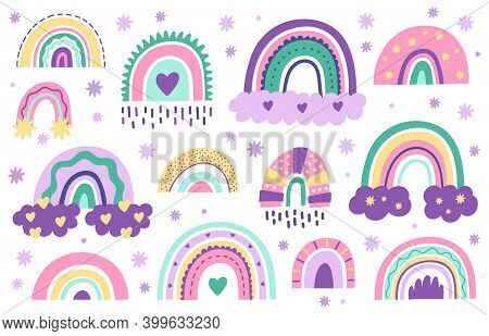 Doodle Nursery Rainbows. Hand Drawn Scandinavian Style Rainbow. Baby Shower, Childrens Party Cute Pa