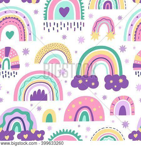 Cute Nursery Rainbow Pattern. Doodle Childish Seamless Pattern, Scandinavian Rainbow. Kids Nursery R