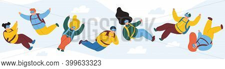 Free Fall Characters. Extreme Parachute Skydivers, Male And Female Parachutists. Parachute Extreme F