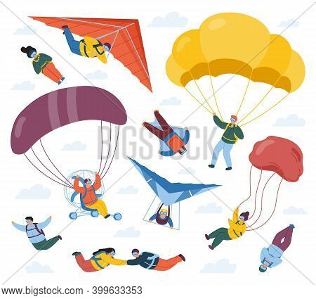 Skydiver Sportsmen. Parachute Extreme Sport, Sky Jumpers, Skydivers And Paragliders. Parachute Profe