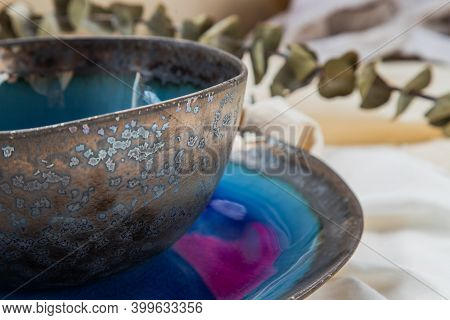 Detailed Of Ceramics Set Bowl With Dried Flowers On Calico. Beautiful Arrangement.