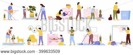 Householder Cleaners. Family Cleaning House, Daily Home Routines, Washing, Vacuuming, Ironing. Domes