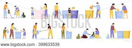 People Waste Sorting. Family Kids Sorting Recycling Garbage, Household Activity, Cleaning Environmen