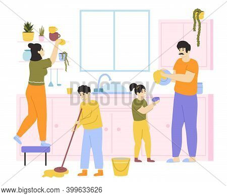 Family Cleaning House. Family With Kids Do Housework Together, Family Washing And Cleaning. Housekee
