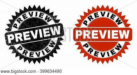 Black Rosette Preview Watermark. Flat Vector Scratched Watermark With Preview Title Inside Sharp Ros