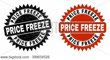 Black Rosette Price Freeze Watermark. Flat Vector Textured Seal Stamp With Price Freeze Text Inside