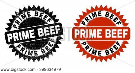 Black Rosette Prime Beef Seal Stamp. Flat Vector Scratched Seal With Prime Beef Text Inside Sharp Ro