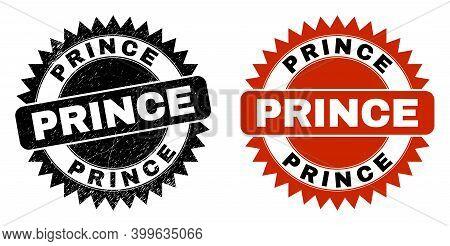Black Rosette Prince Seal Stamp. Flat Vector Grunge Seal Stamp With Prince Phrase Inside Sharp Star