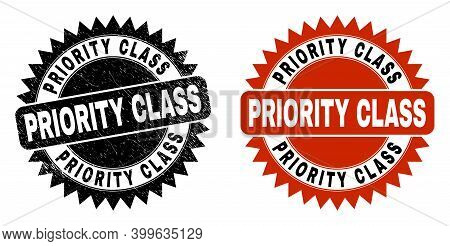 Black Rosette Priority Class Watermark. Flat Vector Scratched Seal Stamp With Priority Class Caption