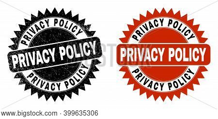 Black Rosette Privacy Policy Watermark. Flat Vector Textured Watermark With Privacy Policy Caption I