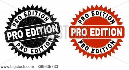 Black Rosette Pro Edition Seal Stamp. Flat Vector Scratched Seal Stamp With Pro Edition Message Insi