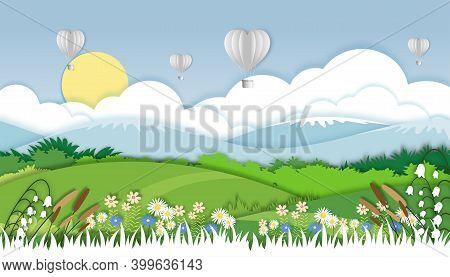 Vector Illustration.paper Cut Style Of Field Landscape In Summer Time, Paper Art Spring Landscape Wi
