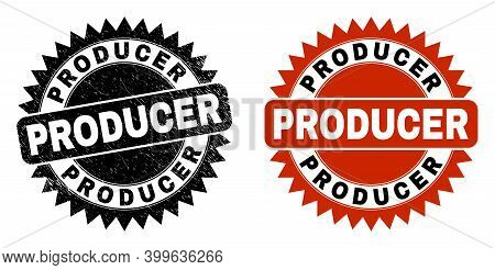 Black Rosette Producer Watermark. Flat Vector Grunge Watermark With Producer Phrase Inside Sharp Ros