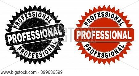 Black Rosette Professional Seal. Flat Vector Textured Seal Stamp With Professional Text Inside Sharp