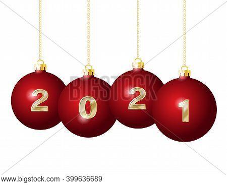Glass Christmas Balls 2021 Hanging On Golden Chains.