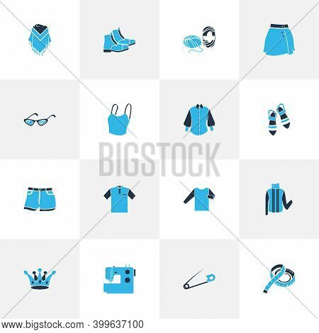 Fashion Design Icons Colored Set With Cropped Top, Turtleneck Sweater, Beachwear And Other Slipper E