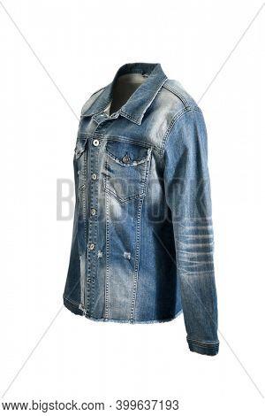 Stone washed denim jacket on invisible mannequin isolated on white background