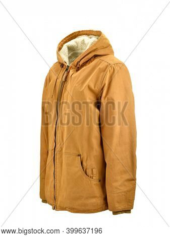 Winter coat on invisible mannequin isolated on white background