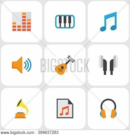 Audio Icons Flat Style Set With Synthesizer, Gramophone, Earpiece And Other Audio Elements. Isolated