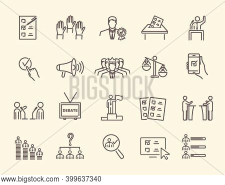 Simple, Black And White Voting And Election Icons Set. Collection Of Linear Simple Web Icons. Form,