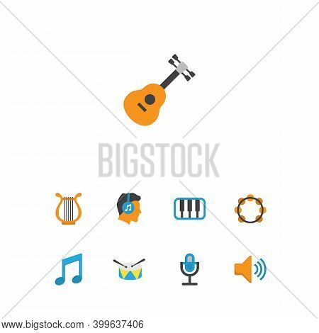 Audio Icons Flat Style Set With Listen, Guitar, Voice And Other Tone Elements. Isolated Vector Illus