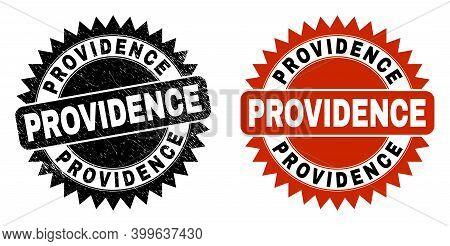 Black Rosette Providence Watermark. Flat Vector Distress Watermark With Providence Phrase Inside Sha