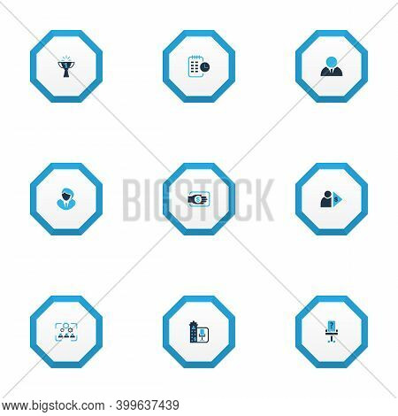 Work Icons Colored Set With Vacancy, Long-term Plan, Businessman And Other Capitalist Elements. Isol