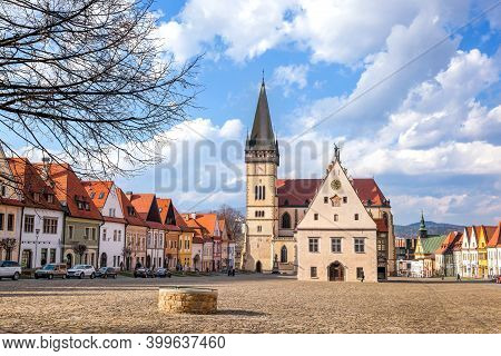 Beautiful Old Bardejov With Church And Main Square In Slovakia