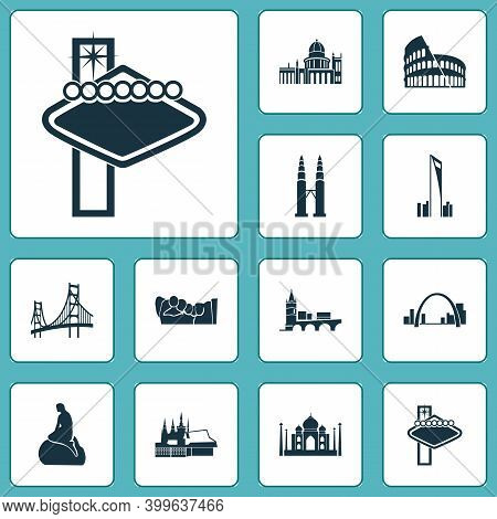 Culture Icons Set With Gateway Arch, Petronas Twin Towers, Little Mermaid Statue And Other Condo Ele