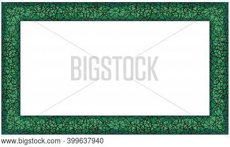 Mosaic Rectangle Frame. Green Malachite. Isolated Vector Illustration On White Background.
