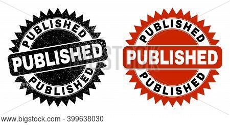 Black Rosette Published Seal Stamp. Flat Vector Distress Seal With Published Phrase Inside Sharp Ros