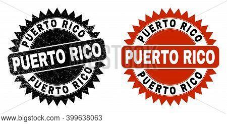 Black Rosette Puerto Rico Seal Stamp. Flat Vector Grunge Seal Stamp With Puerto Rico Text Inside Sha