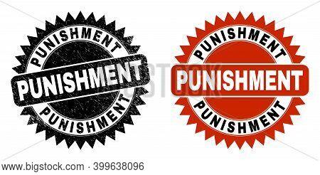 Black Rosette Punishment Seal Stamp. Flat Vector Textured Seal Stamp With Punishment Text Inside Sha