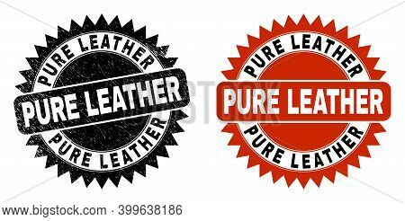 Black Rosette Pure Leather Seal. Flat Vector Scratched Seal Stamp With Pure Leather Caption Inside S