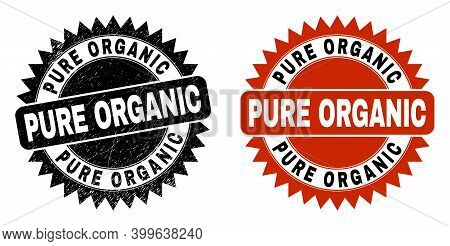Black Rosette Pure Organic Watermark. Flat Vector Textured Seal With Pure Organic Text Inside Sharp