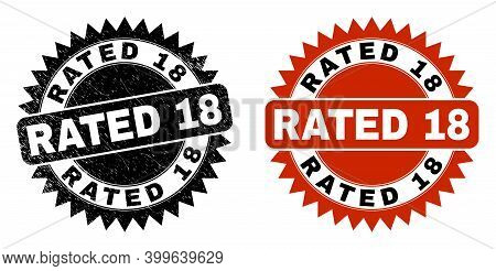 Black Rosette Rated 18 Stamp. Flat Vector Grunge Stamp With Rated 18 Caption Inside Sharp Rosette, A
