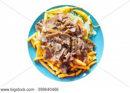 Turkish Cuisine. Doner Kebab Meat With Pommes Frites Potatoes And Salad On Plate Isolated On White B