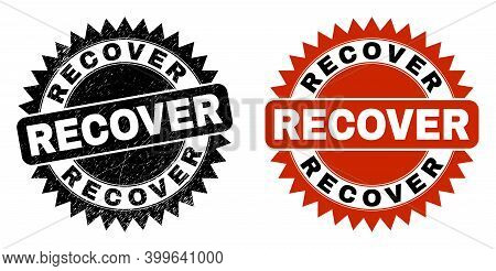 Black Rosette Recover Stamp. Flat Vector Distress Seal Stamp With Recover Caption Inside Sharp Roset