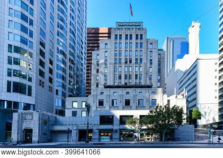 Los Angeles, California Usa - August 26, 2020: The Caledison Building, Formerly One Bunker Hill, Bui