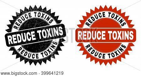 Black Rosette Reduce Toxins Watermark. Flat Vector Grunge Watermark With Reduce Toxins Caption Insid