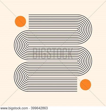 Abstract Poster With Geometric Shapes. Boho Wall Decor. Mid Century Minimalist Art Print.