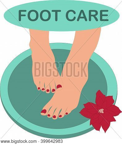 Image Of Womens Naked Feet In A Basin With A Flower And The Inscription Foot Care