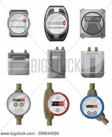 Meters Counters. Electric Power, Gas, Water Meter Vector Cartoon Set Icon. Isolated Symbol Collectio